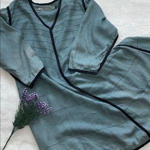CYNTHIA ASHBY Asymmetrical Flowy Linen Dress, XL
